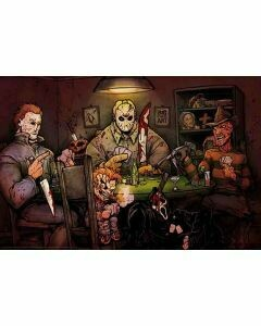 SLASHERS PLAYING CARDS POSTER ON CARDBOARD