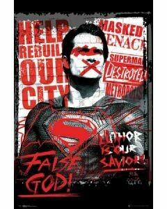 BATMAN VS SUPERMAN FALSE GOD POSTER ON CARDBOARD