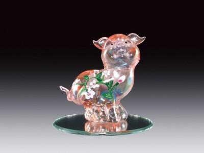 PINK PIG W/FLOWERS