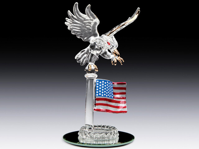 EAGLE W/FLAG ON MIRROR BASE
