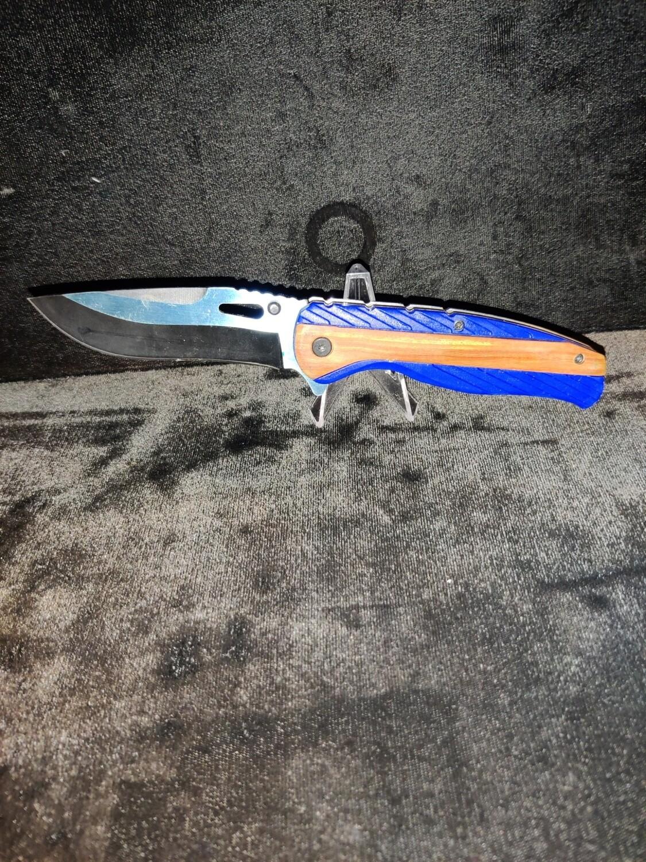 (R6) BLUE/BROWN HANDLE POCKET KNIFE