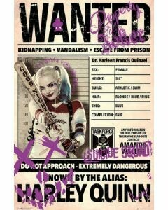 HARLEY QUINN WANTED POSTER ON CARDBOARD
