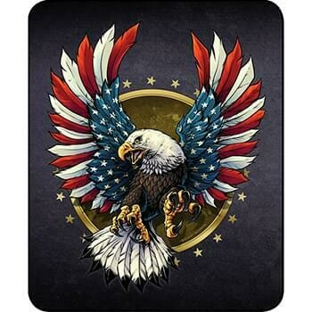 EAGLE WITH FLAG FEATHERS FAUX FUR