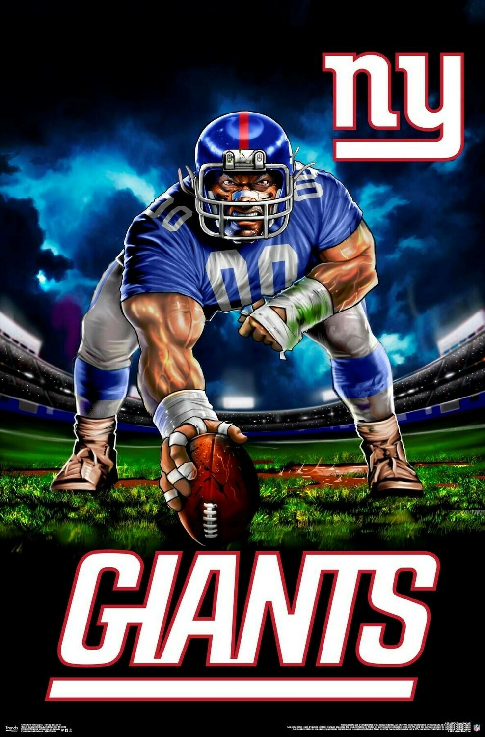 NY GIANTS 3 POINT STANCE ROLLED