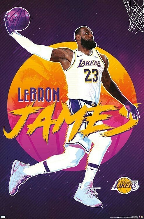 NBA LAKERS LEBRON JAMES 20 ROLLED
