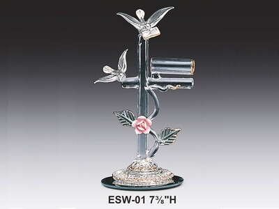GLASS DOVES W/MAIL BOX ON MIRROR BASE