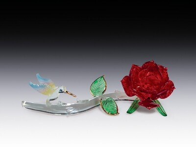 RED ROSE WITH HUMMINGBIRD
