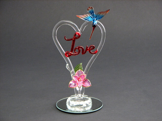 LOVE W/HUMMINGBIRD AND FLOWER ON MIRROR BASE