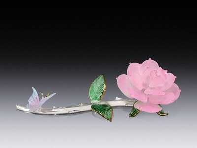 PINK ROSE W/BUTTERFLY