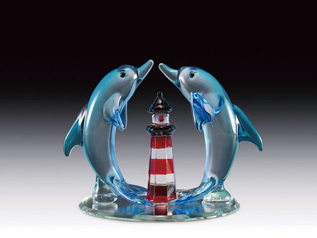 JUMPING DOLPHIN LIGHTHOUSE ON BASE