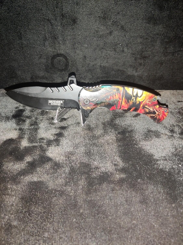 (F7) DRAGON DEMON SPRING ASSISTED POCKET KNIFE