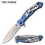 (R35) TAC-FORCE BLUE/SILVER SPRING ASSIST POCKET KNIFE