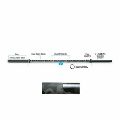 BARRA OLÍMPICA CROSSFIT EVERLAST E-15KG X 1000LB / 200CM CAMUFLADA