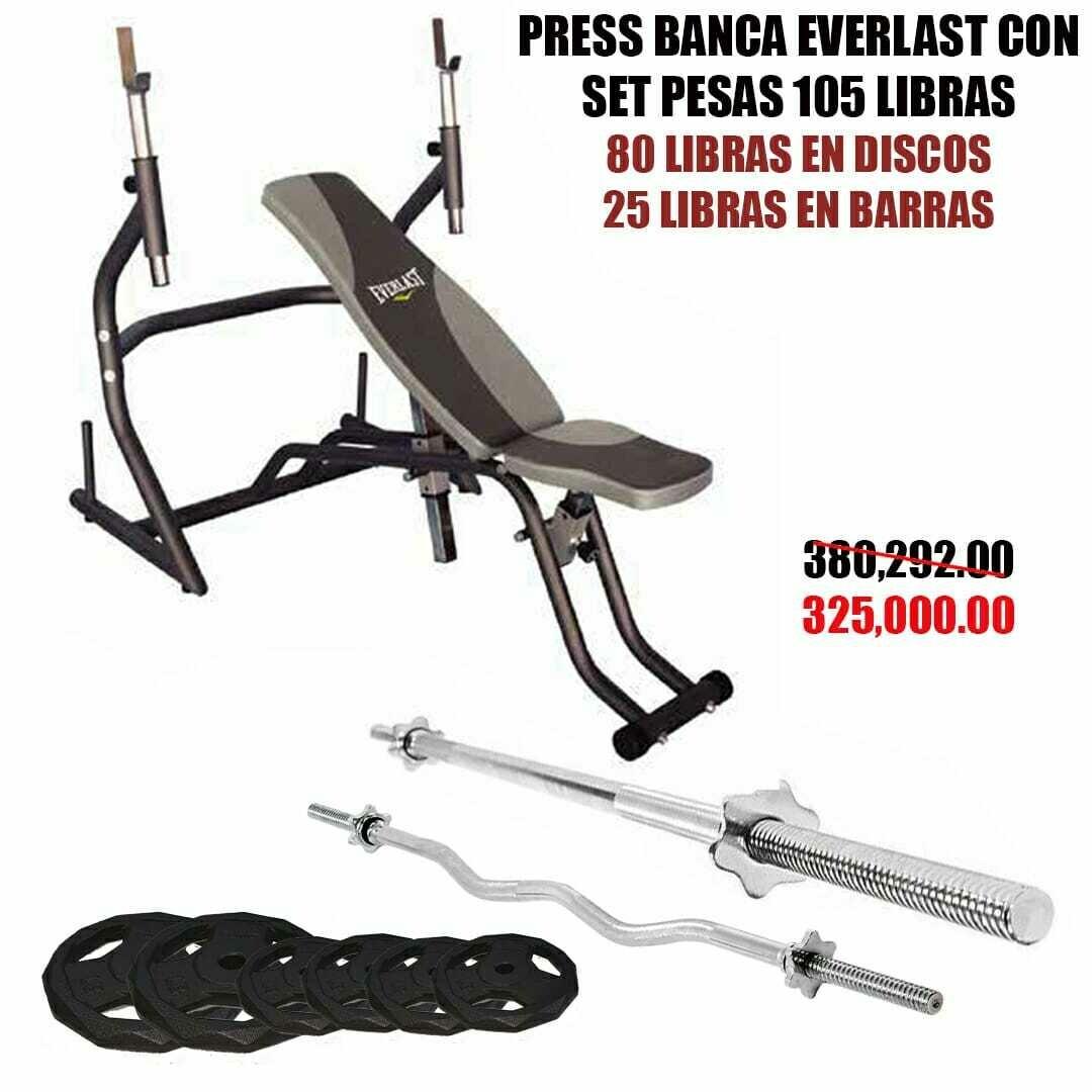 PRESS BANCA EVERLAST CON SET PESAS 105 LIBRAS  (80 LIBRAS ENNDISCOS Y 25 EN BARRAS)