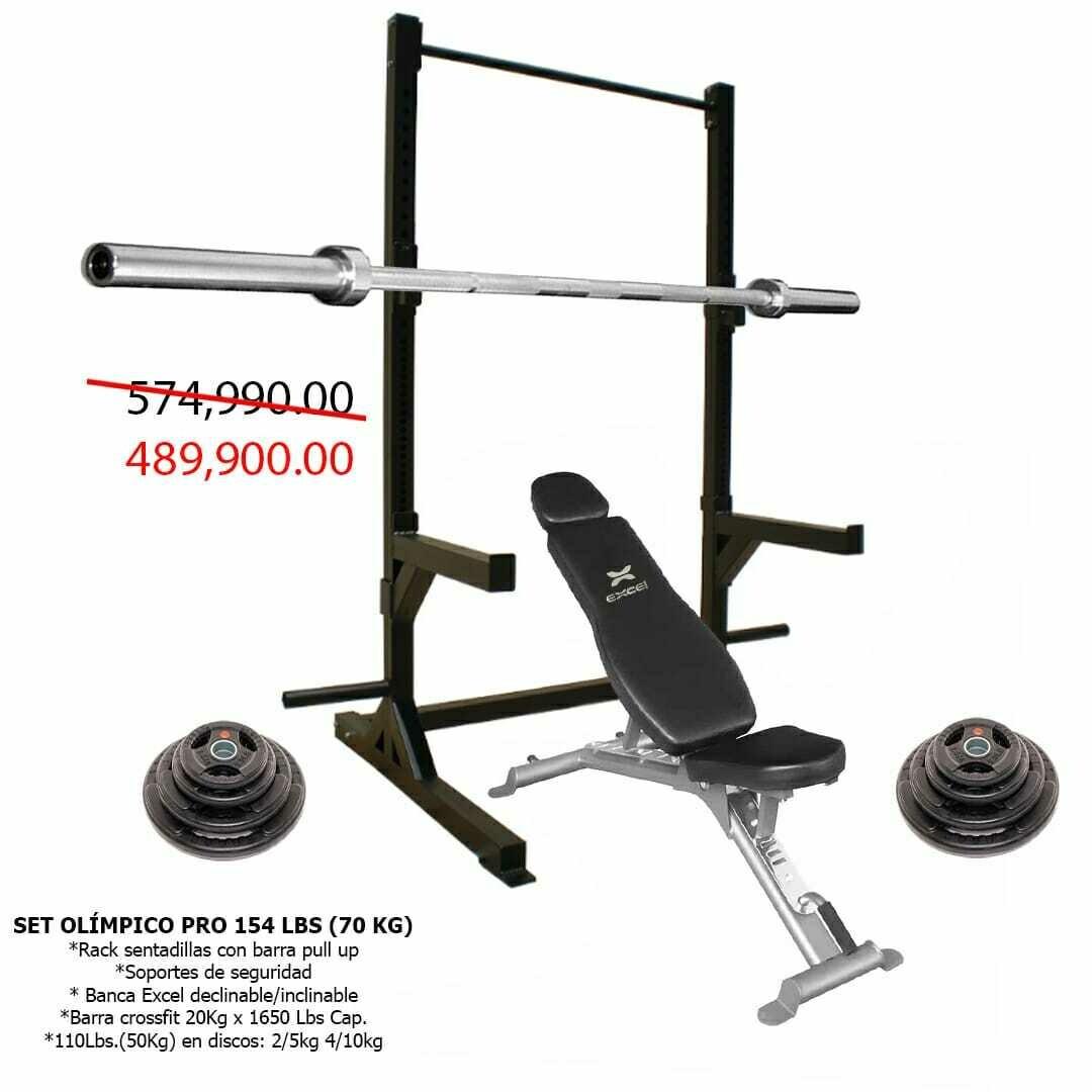 SET OLIMPICO PRO 154 LBS (70 KG)