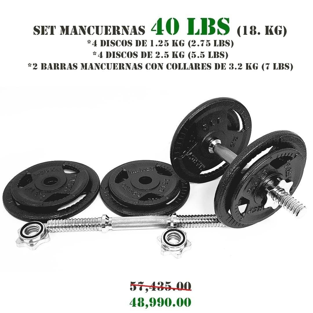 SET MANCUERNAS 40 LBS (18 KG.)
