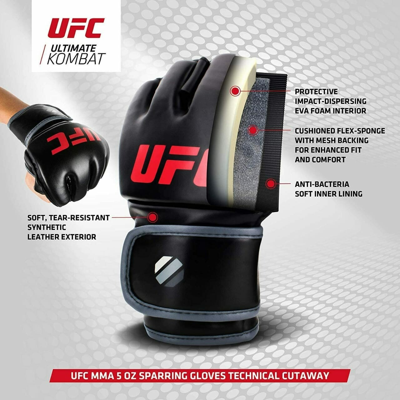 GUANTES SPARRING MMA UFC 5 OZ-BL