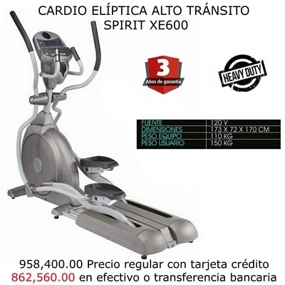 CARDIO ELIPTICA ALTO TRANSITO SPIRIT XE600