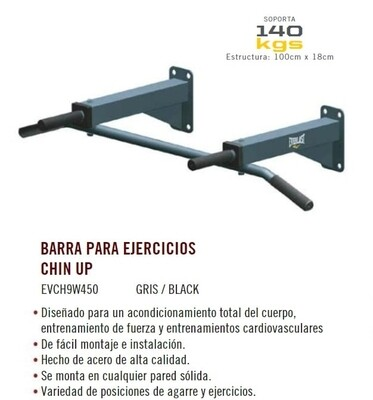 BARRA PARA EJERCICIOS CHIN UP 140KG