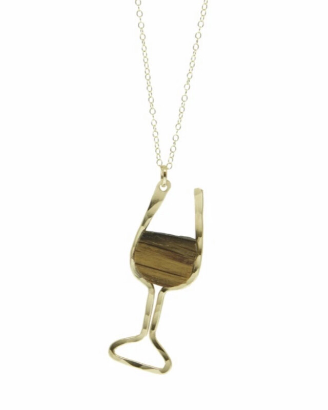 WINE GLASS BARREL STAVE PENDANT NECKLACE