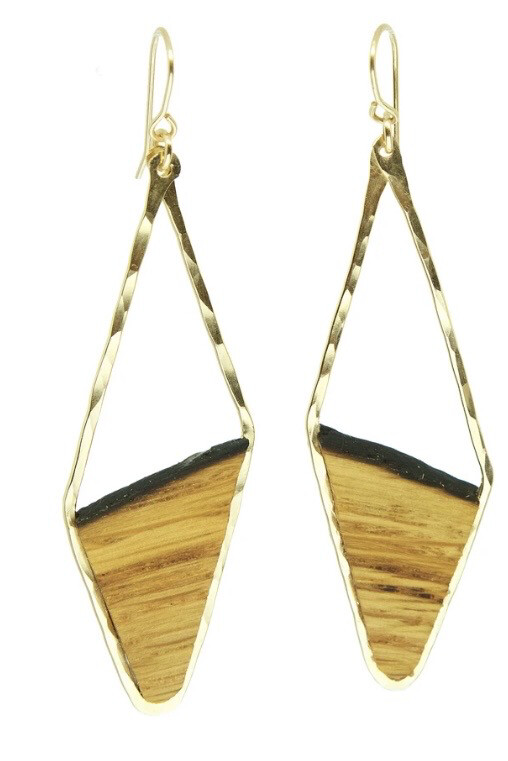 RECLAIMED OAK BARREL STAVE ASYMMETRICAL DIAMOND EARRINGS