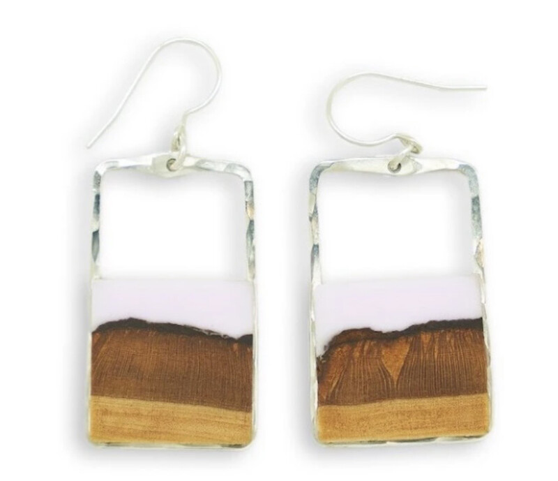 """MEADOW"" - SMALL CASSIS BASSWOOD RECTANGLE EARRINGS- Sterling Silver"