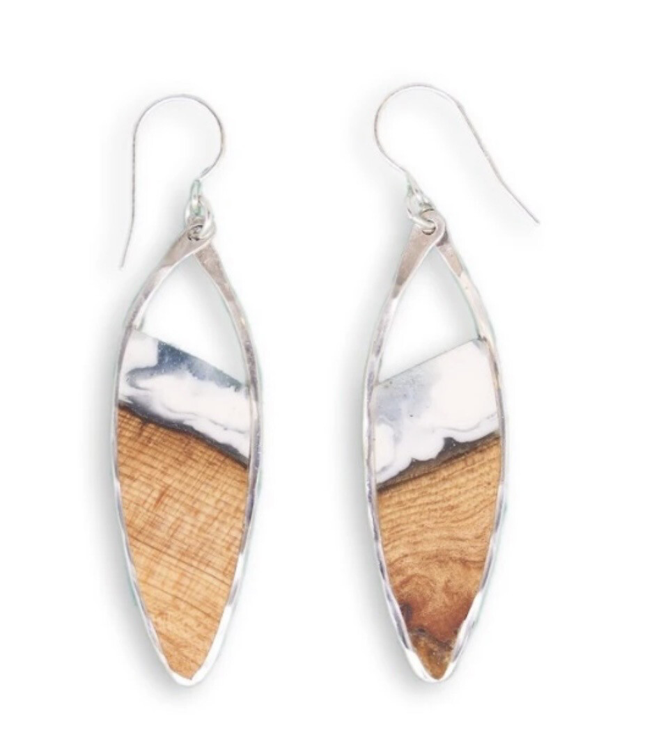 """RIPTIDE"" OREGON DRIFTWOOD AND INDIGO NARROW MARQUIS EARRINGS- Sterling Silver"