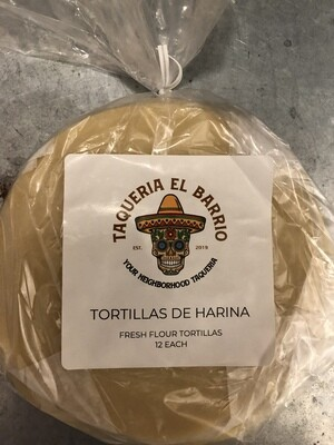 Taqueria El Bario tortillas de harina (raw flour tortillas)