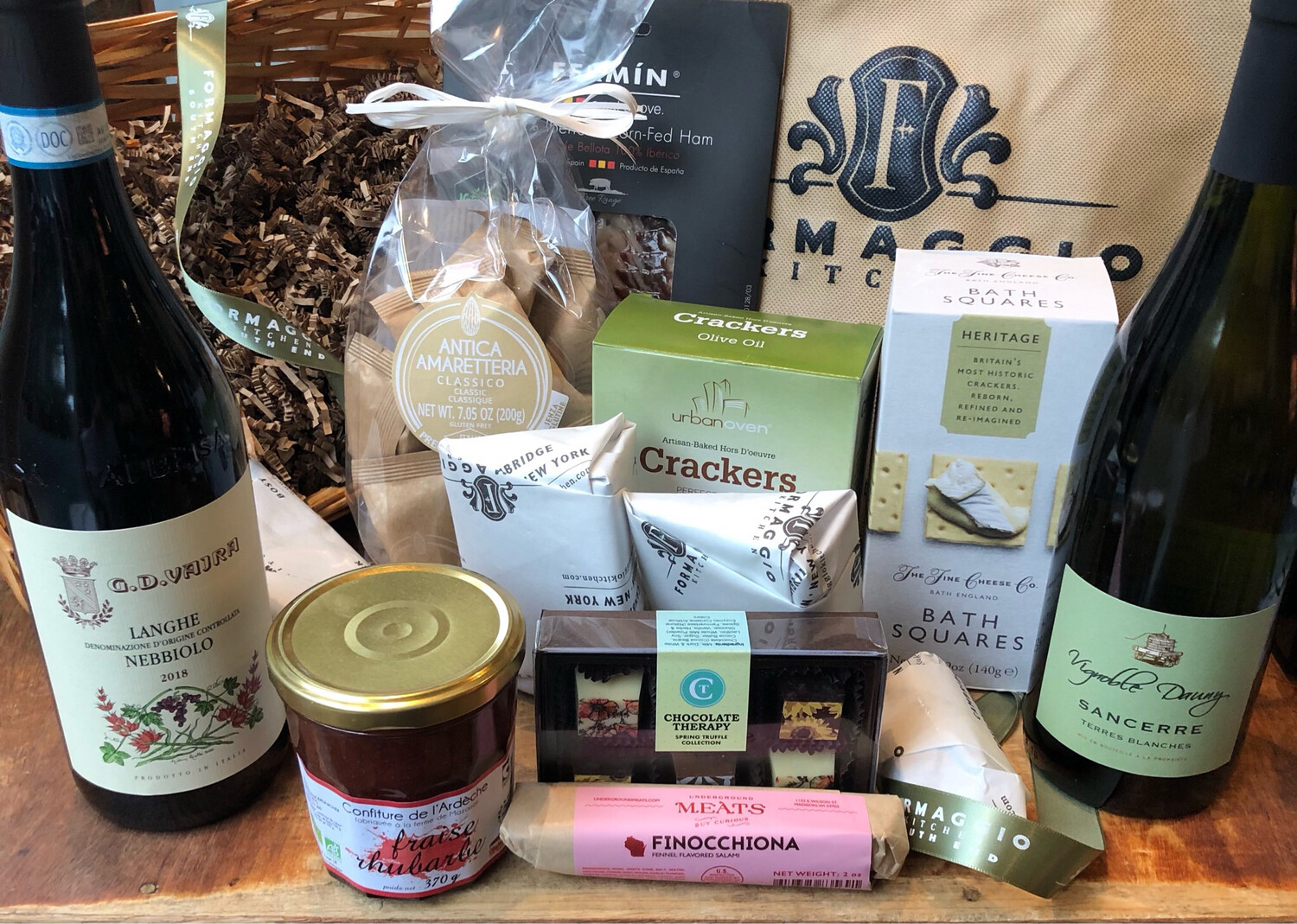 Wine, Cheese, & Charcuterie Gift Basket or Gift Tote - Large