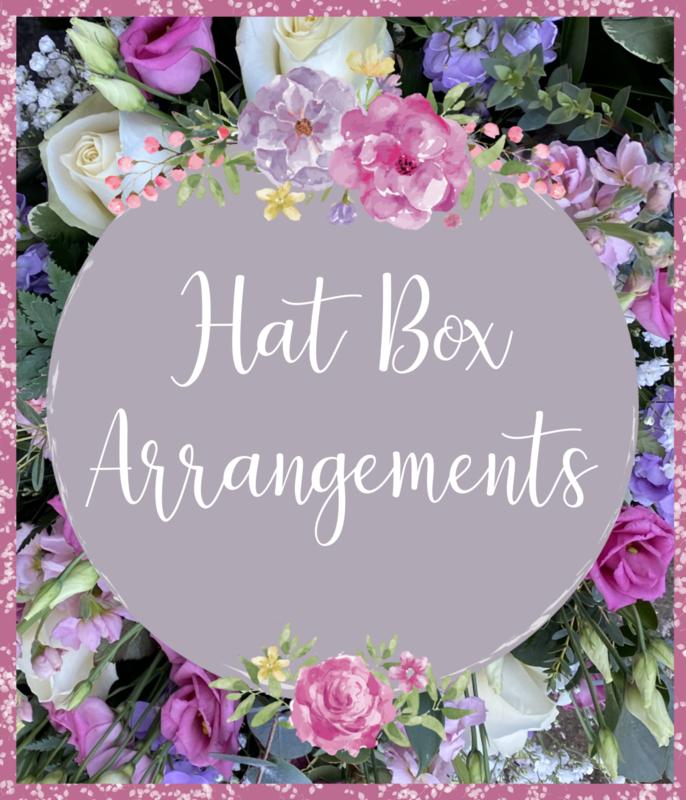 Florist Choice Hat Box Arrangements (colour schemes and larger sizes available to choose)
