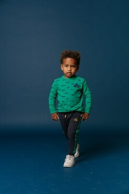 BBL Donkerblauwe joggingbroek met groene strepen