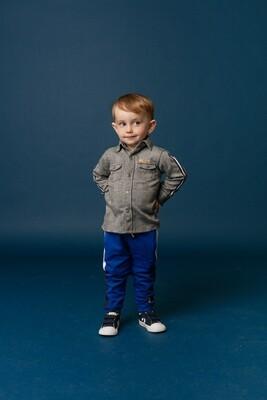 BBL Blauwe joggingbroek met wit/zwarte strepen