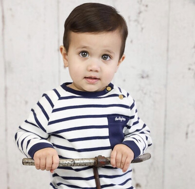 DB Blauw/wit gestreepte trui