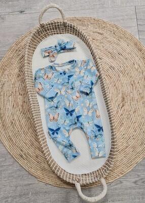 LA Lichtblauw kruippak met vlinders