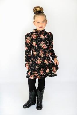 VR Zwart kleed met roosjes