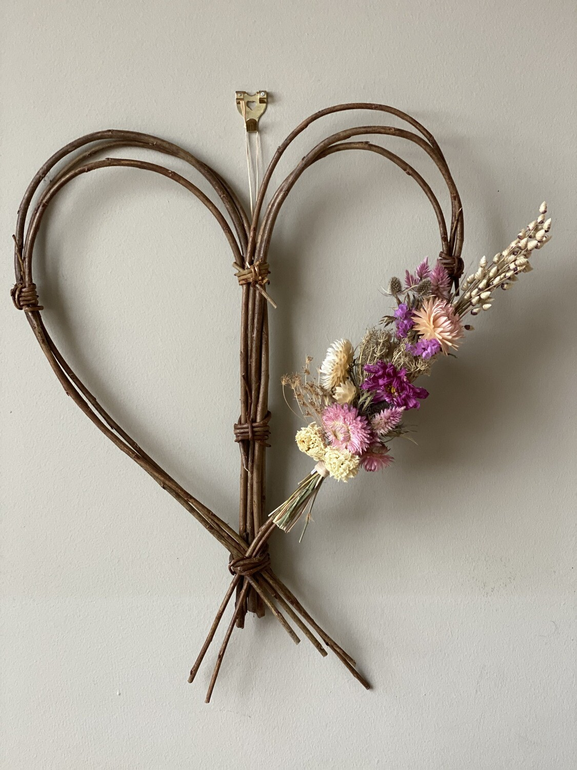 Handmade Heart Shaped Willow Wreath with Dried flowers