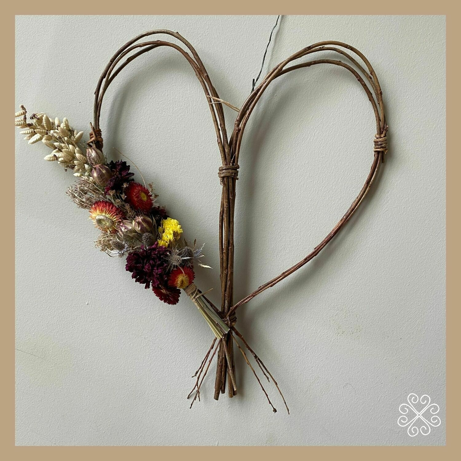 Heart Shaped willow wreath with dried flowers