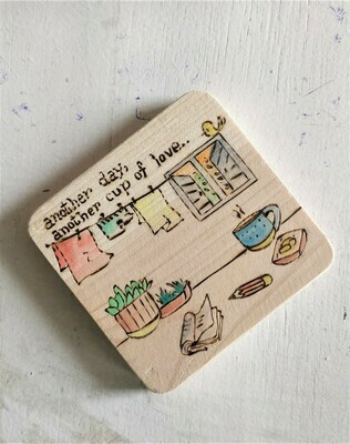 """""""A cup of love"""" - WOODEN COASTER"""