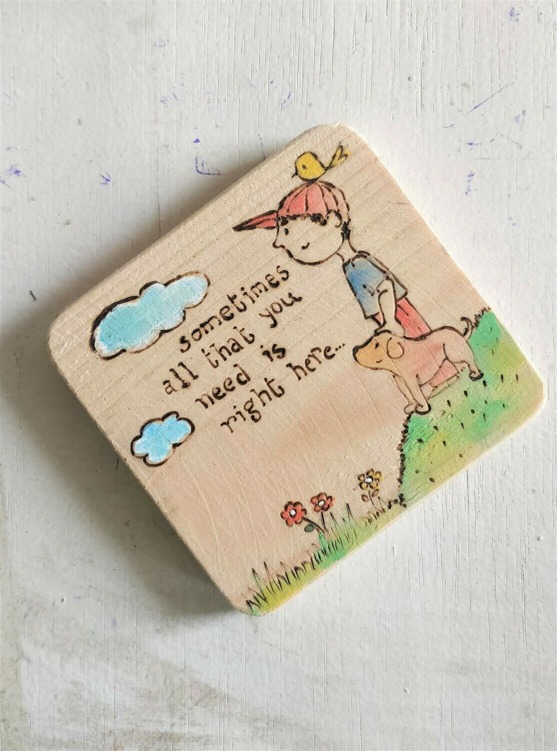 """""""Right here with you"""" - WOODEN COASTER"""