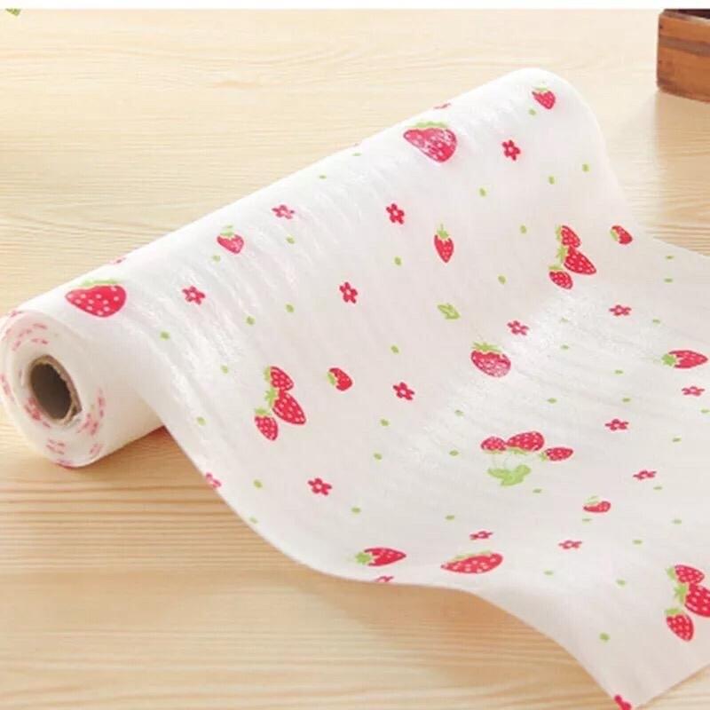 Strawberry Print Wardrobe Fridge Mat (30 Cm X 300 Cm)