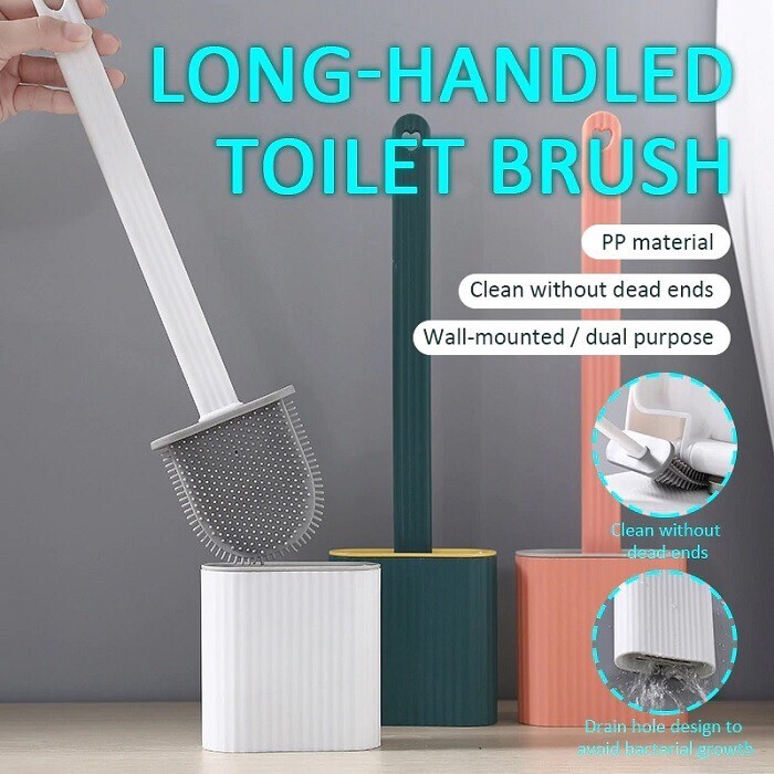 Silicon flex toilet brush with holder