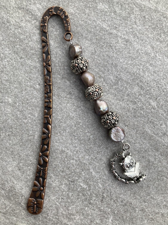 Buchzeichen Eule Kupfer Perlen