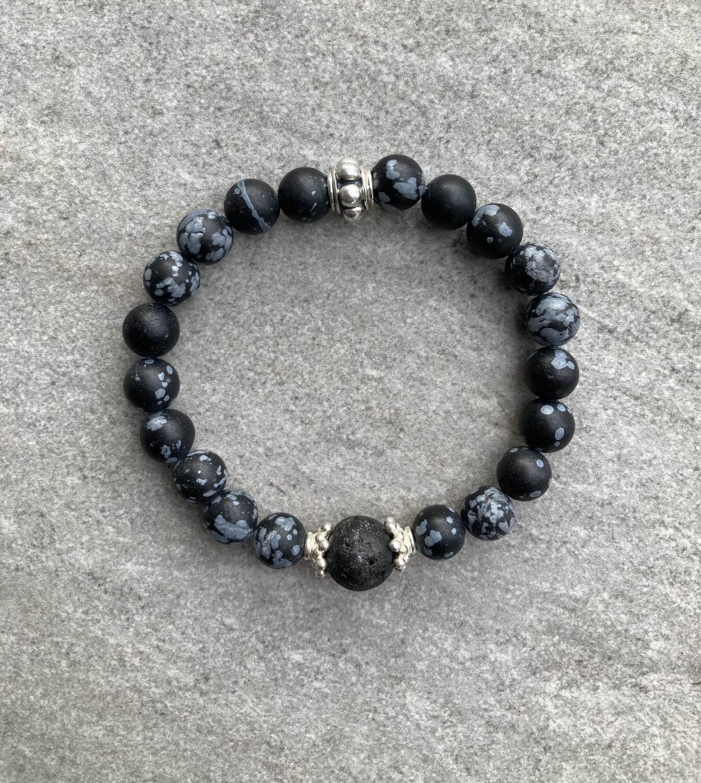 Aroma Armband Schneeflocken-Obsidian