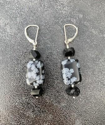 Ohrringe Schneeflocken Obsidian