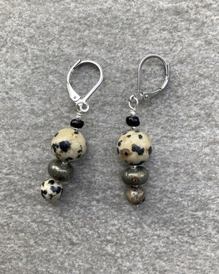 Ohrringe Dalmatiner Jaspis