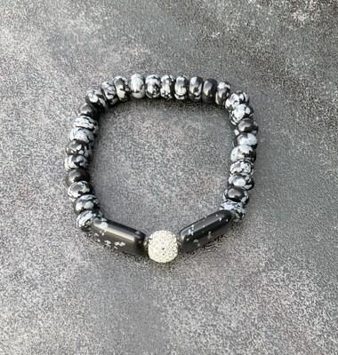 Armband Schneeflocken Obsidian und Silberperle