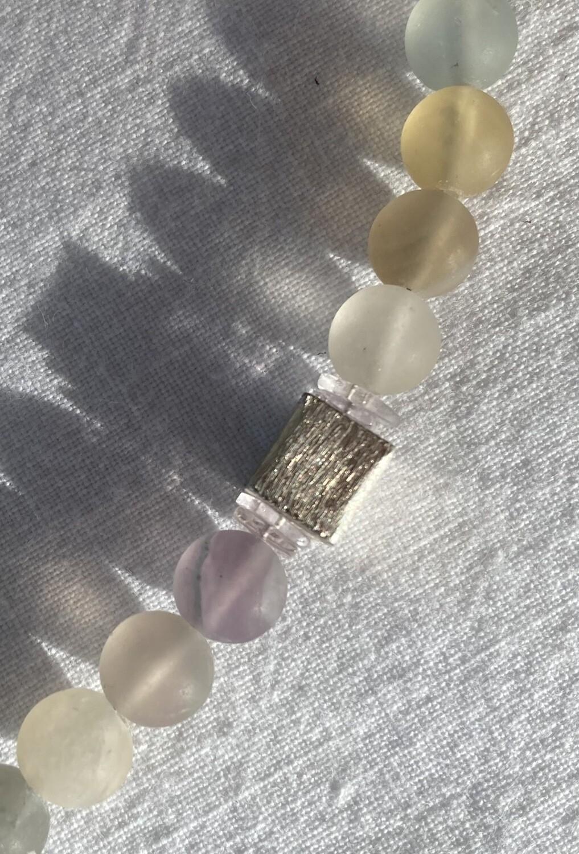 Collier Fluorit matt mit Silberwürfel