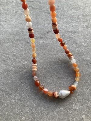Collier Karneol Koralle und Silber