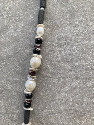 Collier Perlen-Lava-Rubin