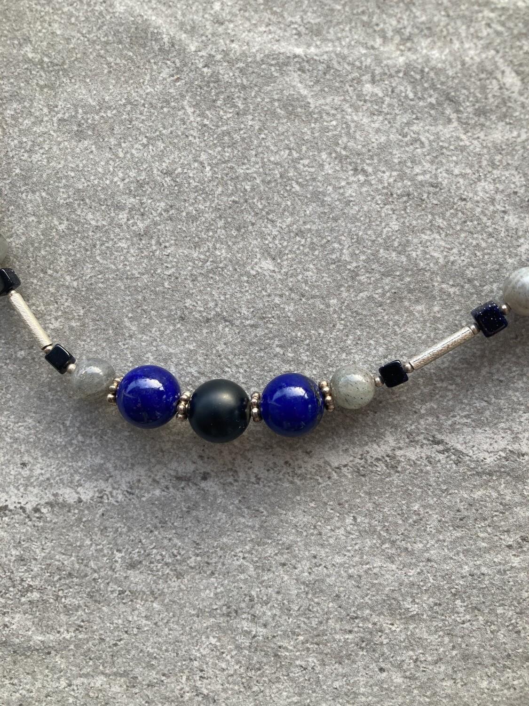 Collier Blau Schwarz Grau